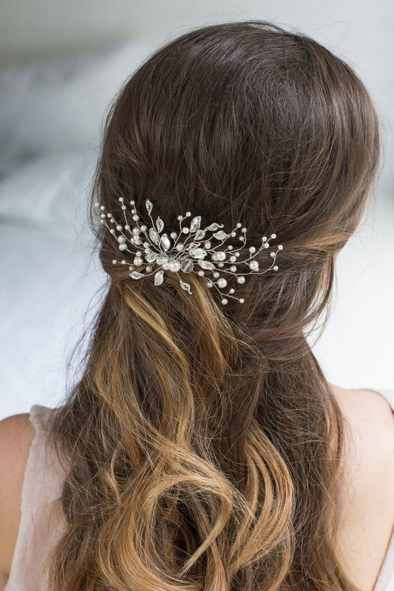 Bridal Hair Comb with Swarovski Pearls Bridal Headpiece Bridal Hair Piece Leaf…