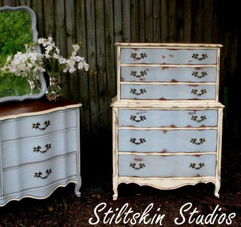 Shabby French Provincial Paris Apartment Tallboy Dresser