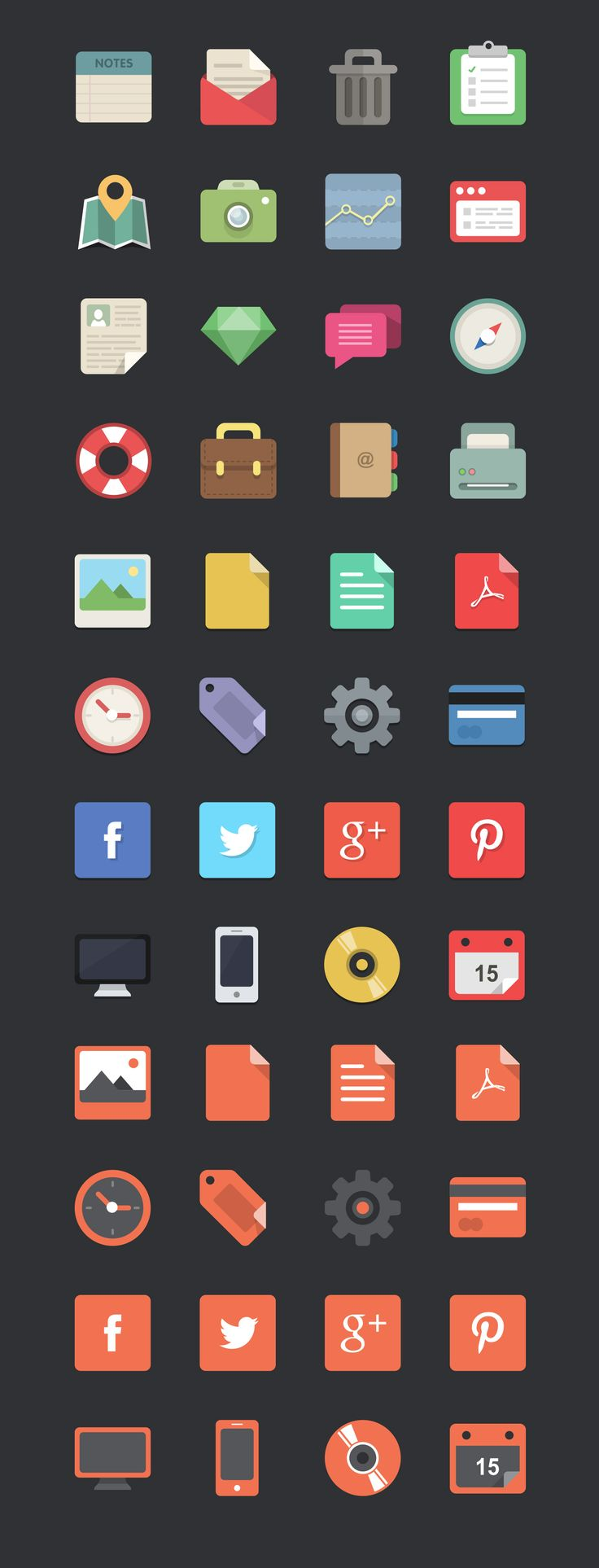WDD_IconsPreview. Free download: 48 flat designer icons