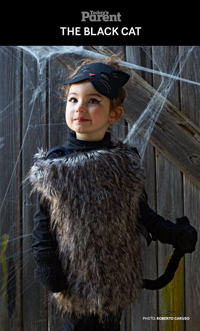DIY Classic Black Cat Kids Halloween Costume. #TodaysParent #HalloweenKidsCostume