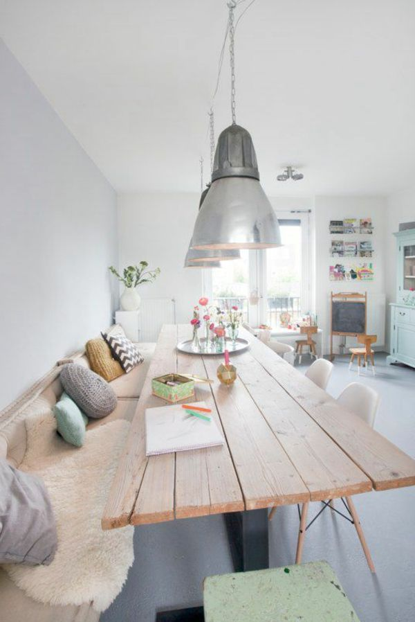 wooden dining table for cottage living room
