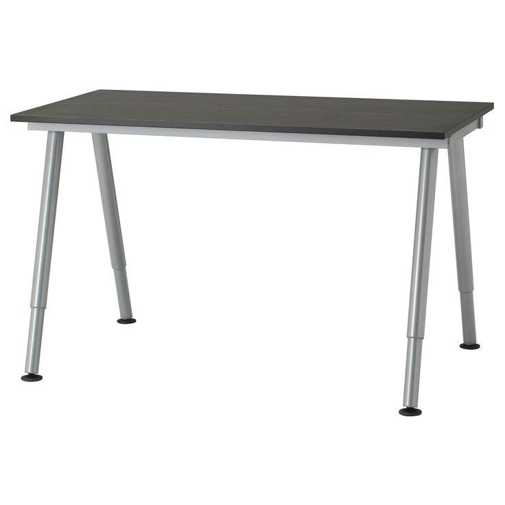 GALANT Biurko - czarnobrązowy, noga A, srebrny - IKEA