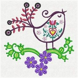 "Fancy Song Bird by Sweet Heirloom from Embroidery Designs  3.81"" x 3.63"""