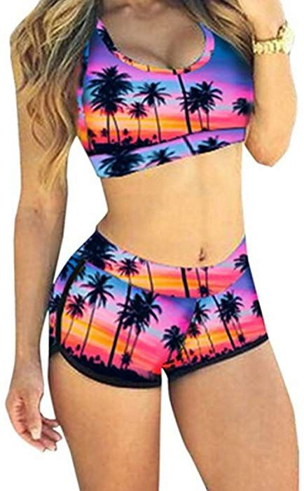 a23a1477134ee Amazon.com  QingLemon Women Bikini Sets Boyleg Short Swimwear Sporty  Bathing Swimsuit(FBA) (L