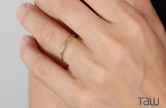 Simple Gold Ring 14k Gold Thin Gold Ring Rounded Thin Band
