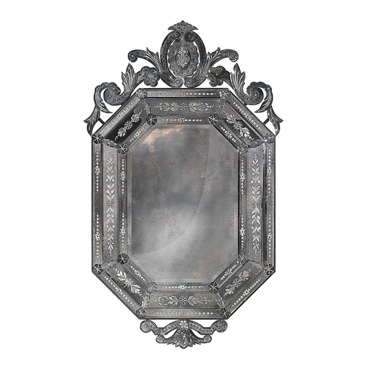 7060 Engraved and antiqued mirror in 18th century French style. Structure in antiqued solid wood finished in bitumen.