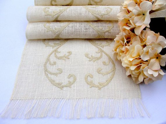 Ivory Burlap Embroidered Table Runner   Wedding by HotCocoaDesign