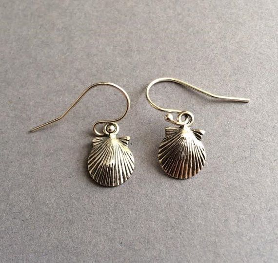 Shell Earrings Silver Shell Earrings Beach by Instyleglamour