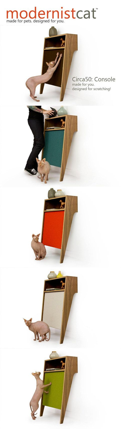 Mid Century Modern Pet Furniture // Cat Scratcher by modernistcat, $399.00 For that price, i'll make my own tho!