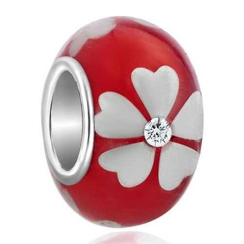 Diamond Accent Silver Tone Lucky Clover Bright Red Flower Beads Charm Bracelets Pandora Trollbeads Compatible | Charmsstory.com  #clover #murano #charms #pandora #trollbeads #luckycharms