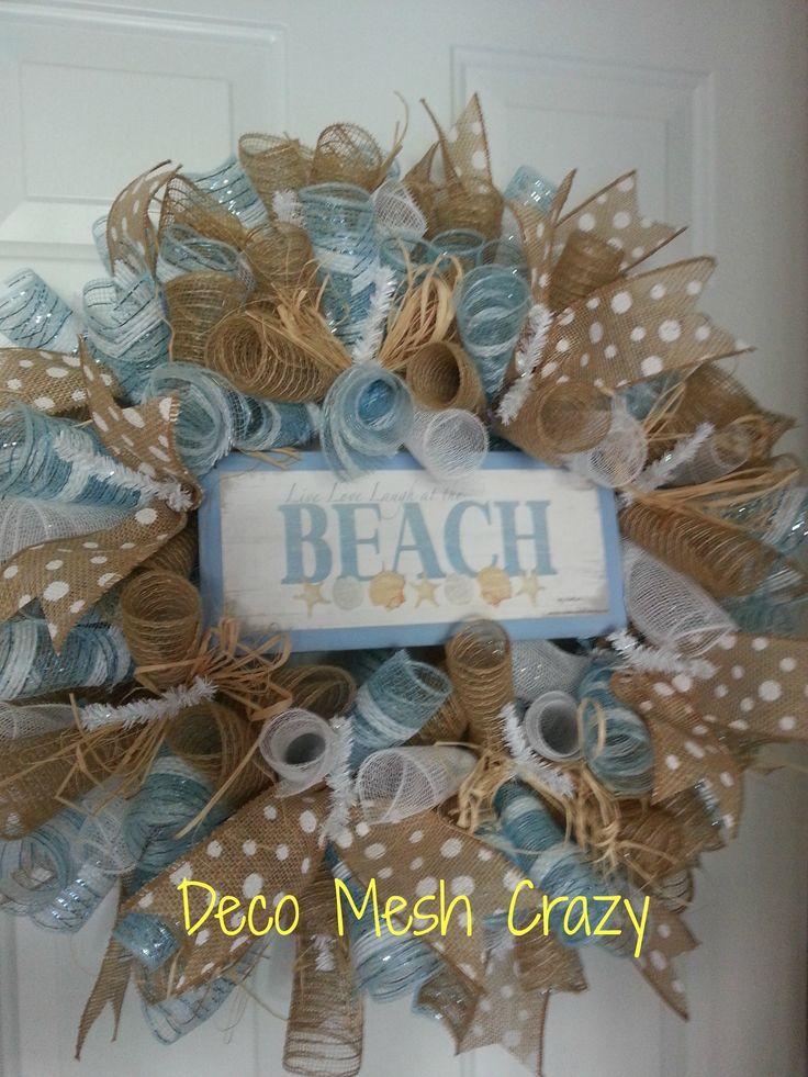 Beach Deco Mesh Wreath- www.facebook.com/decomeshcrazy