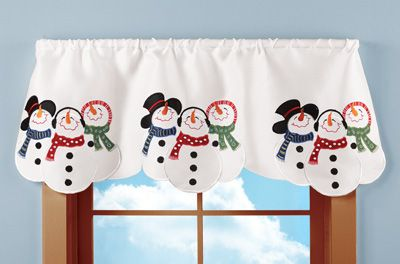 Embroidered Snowman Winter Window Valance