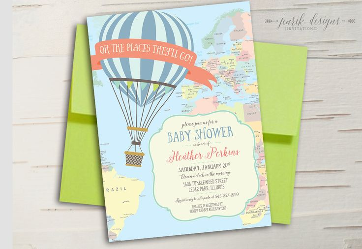 Hot Air Balloon Baby Shower Invitation || Oh the Places You'll Go || Travel Baby Shower or Birthday Invitation || Printable Invitation by jenrikdesigns on Etsy https://www.etsy.com/listing/214735563/hot-air-balloon-baby-shower-invitation