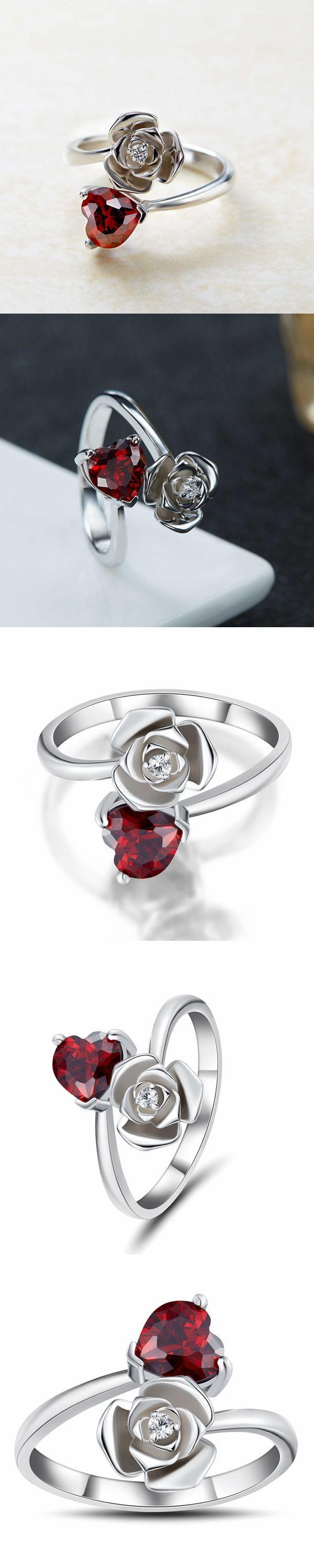 Lajerrio Jewelry Heart Cut Garnet S925 Promise Rings For Her
