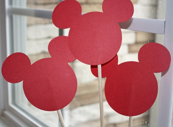 These would make such cute centerpieces for your nex Mickey or Minnie Mouse themed party or event! ~ 10 Red Mickey Minnie Mouse Head Die 3 3/4 by MousePartyHouse, $2.90