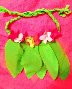 The Movie Moana Inspires So Much Fun | No Non-cents Nanna  Kids love the Tropical Hawiian Island theme. Hula inspired apron/skirt ties in back to fit more samll child sizes. Felt and tulle leaves. Braided fleece or flet belt ties in back. Felt or fleece flowers.
