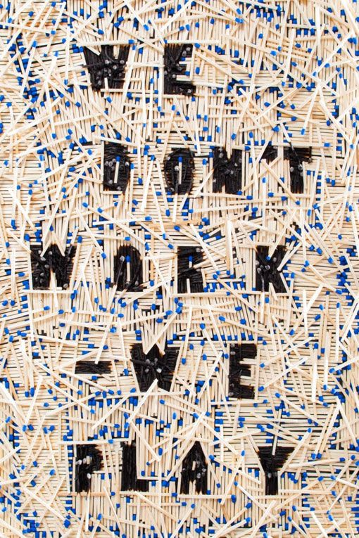 We Don't Work – We Play was an exhi­bi­tion held in Germany that fea­tured var­i­ous typo­graphic inter­pre­ta­tions of the phrase