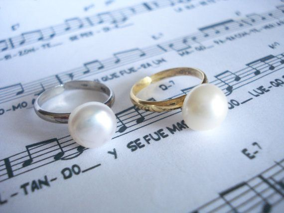 Freshwater pearl ring Bridal pearl ring Gold pearl ring by Poppyg