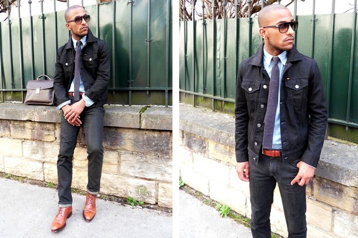 Jeans jacket tie leather shoes