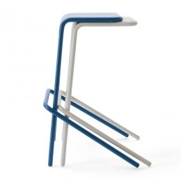 Stackable stool created in metal tube and steel sheet, seat laser cut, feet in black plastic. Available in two heights, it is offered in matt paint mustard, blue, green, white and anthracite colors.