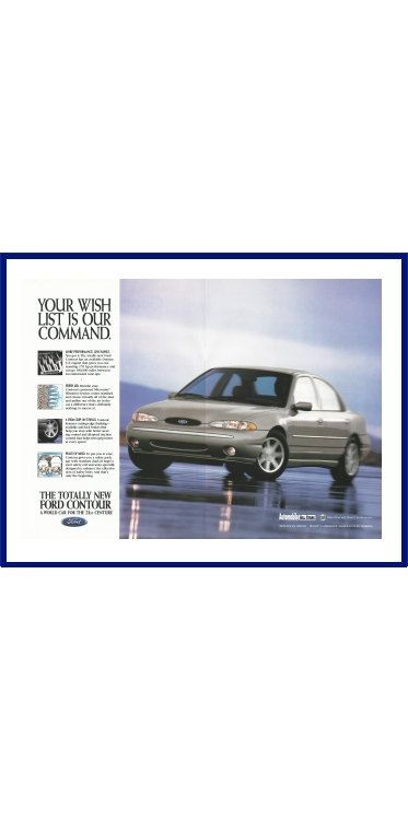"FORD CONTOUR AUTOMOBILE Original 1995 Vintage Color Print Ad - ""Your Wish List Is Our Command."" by VintageAdOrama on Etsy"