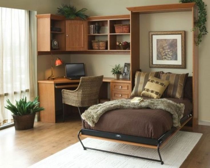 Cute Images Of Home Interior Design With Various Corner Decoration Ideas: Exciting Small Wooden Bedroom Decoration Using Small Oak Wood Single Murphy Bed Frame Including Corner Solid Oak Wood Computer Desk And Solid Oak Wood Tile Bedroom Flooring ~ fendhome.com Interior Inspiration