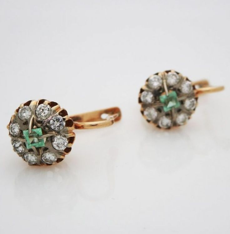 Antique Russian 14kt Yellow Gold Lever Back Emerald And Diamond Earrings * Reminds you of the green green grass of home. * Katie Callahan & Co.