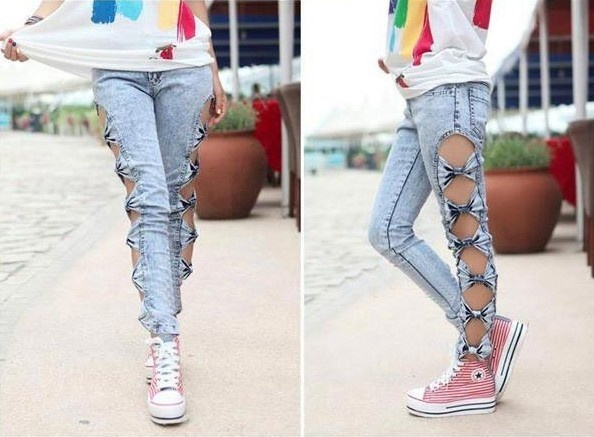 vintage mulher detalhada arco lado recorte rasgado denim jeans sexy leggings