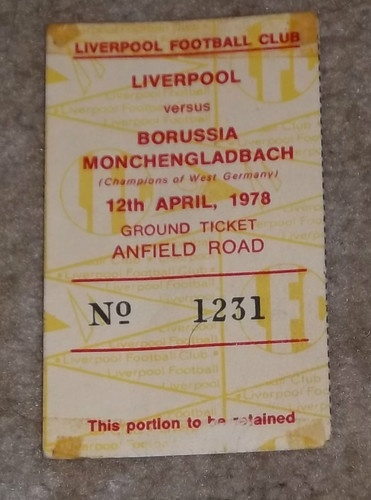 12-4-1978 European Cup Semi Final ticket Liverpool v B Monchengladbach