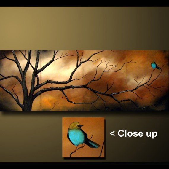 A Quiet Evening Whimiscal Bird with Earth Tones Semi Abstract ART byDROB 20 x 64…