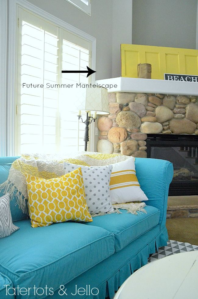 turquoise yellow and grey family room at tatertots and jello...love the happy colors!! I may have to use this color scheme for my baby boys' nursery!