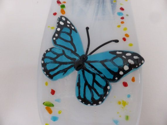 Butterfly clock Fused glass fused glass di 1stGlassCreations