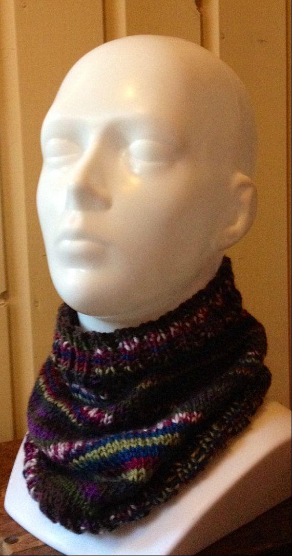 Hand Knit Bandana Cowl Scarf in Self Striping Purple by EweMomma