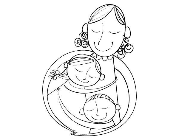 Dibujo de Un abrazo para mamá para Colorear | Frases | Hug, Adult ...