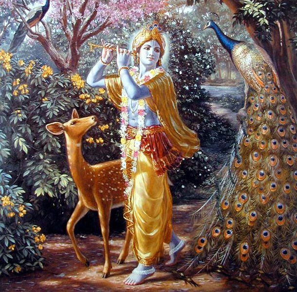 Hindu Mythology : Lord Krishna playing flute. www.songdew.com
