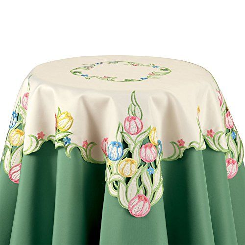 Multicolor Tulips Table Linens, Square Collections Etc…
