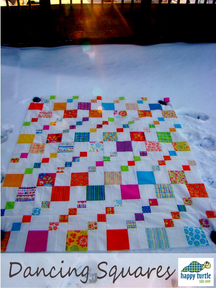 Happy Turtle: Dancing Squares - Baby Quilt Top