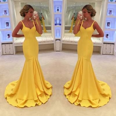 Yellow fitted dresses for sale