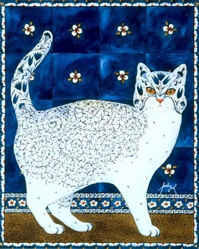 Floral Cat, looks like it's wearing a mask. Artist not given unless this is it: Feridun Oral.