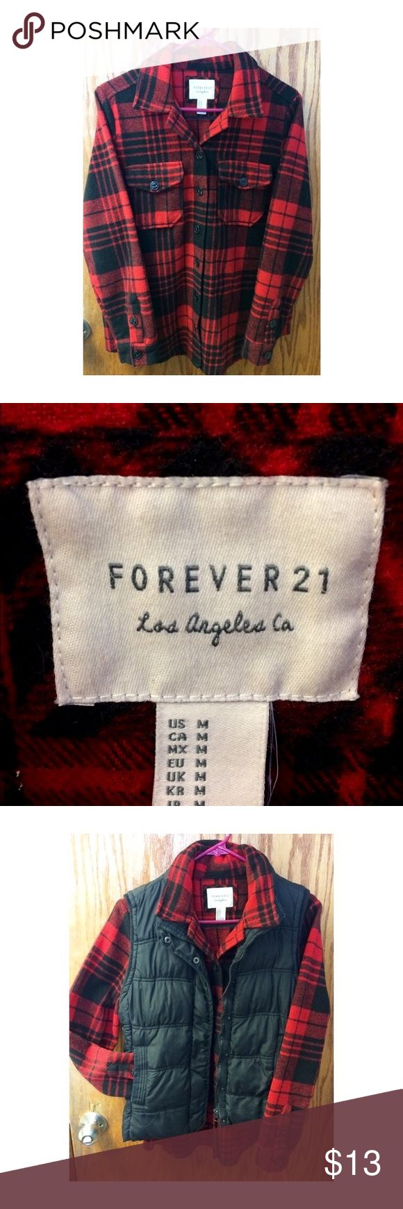 Forever 21 Flannel Button Up Women's black and red buffalo check flannel button up. Brand: Forever 21. Size: M. Material: 79% polyester, 16% wool & 5% acrylic. Worn only a handful of times. Ladies, fashion fades but flannel is forever!   NOTE: Black vest featured in photo is NOT for sale; the picture was posted to provide style inspiration. Forever 21 Tops Button Down Shirts