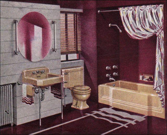 Best Vintage Bathroom Images On Pinterest Vintage Bathrooms - Burgundy bathroom decor for small bathroom ideas