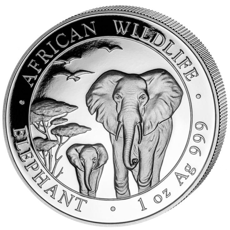 1 oz 2015 Somalian African Elephant Silver Coin 999 Obverse