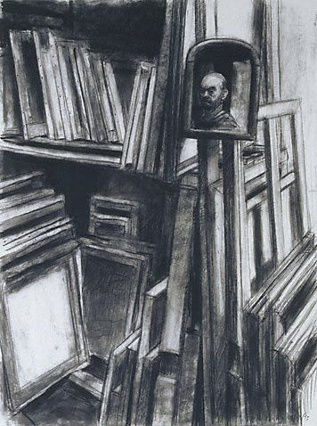 An image of Self portrait with paintings by Rick Amor 1993
