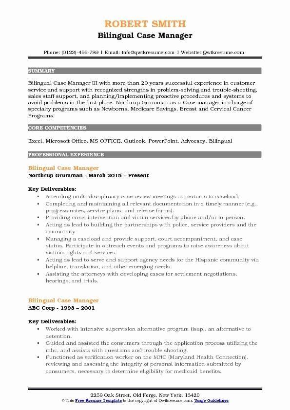 Case Manager Job Description Resume Luxury Bilingual Case Manager Resume Samples In 2020 Teacher Resume Template Teacher Resume Examples Teacher Resume
