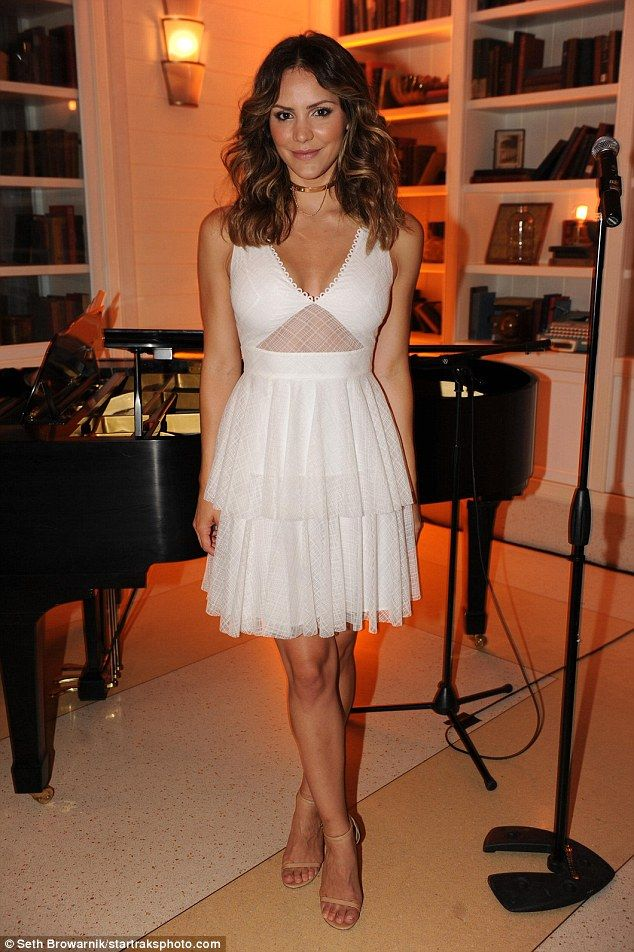 A vision in white: Katharine McPhee glammed up for a party to celebrate her cover of Ocean Drive magazine's September Fall Fashion Issue at the  Confidante Miami Beach Hotel on Friday