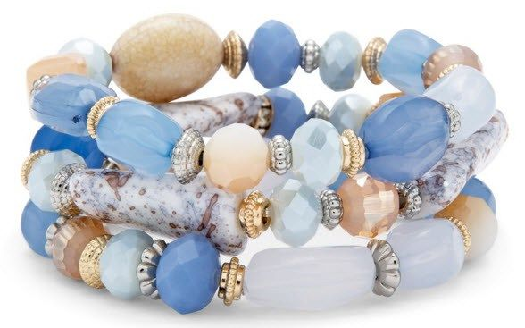 SINI BRACELET SET - Simulated stones and faceted beads on three stretch strands mixed with milky beads and neutral tones