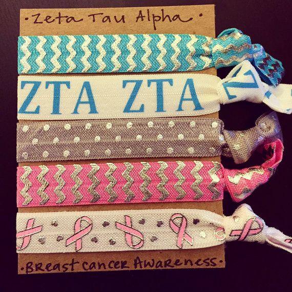 Zeta Tau Alpha Creaseless Hair Ties  ZTA  Think by tiesforteams