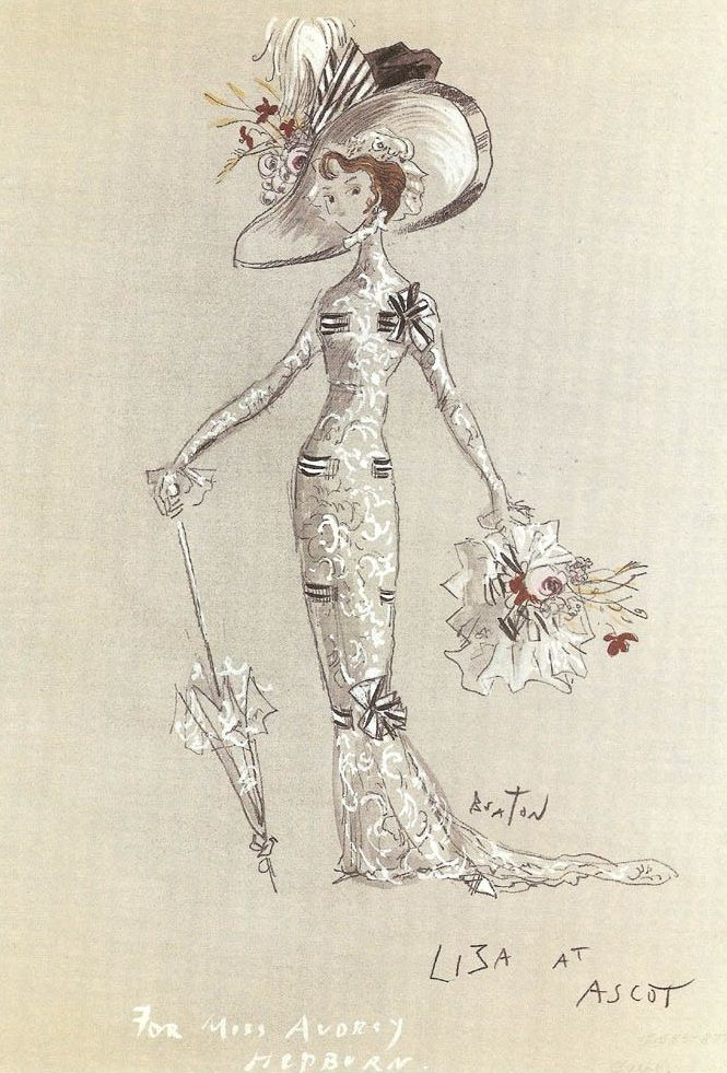 "Illustrated by Cecil Beaton his creations for the Audrey's wardrobe as Eliza Doolittle (for the Ascot scene) in ""My Fair Lady"" (1964)."