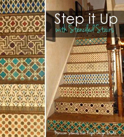 stair riser stenciling with moroccan stencils