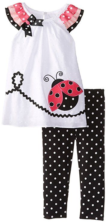 Rare Editions Baby Baby Girls' Ladybug Applique Legging Set, White/Black, 18 Months
